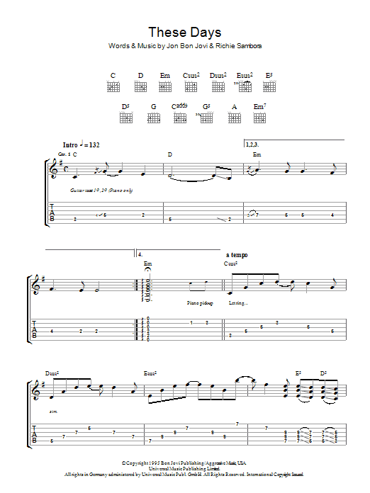 These Days (Guitar Tab)