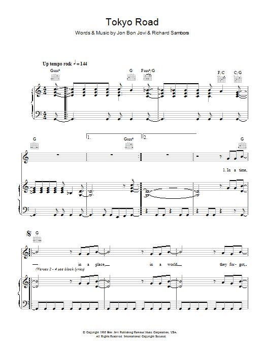 Tokyo Road (Piano, Vocal & Guitar)