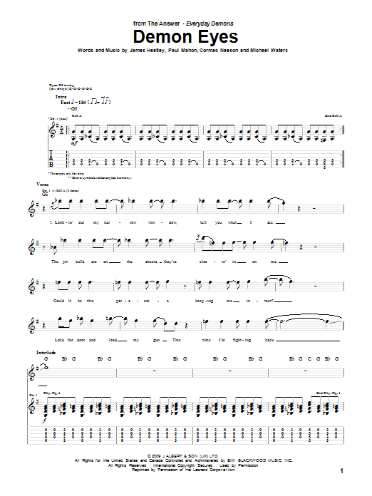 Tablature guitare Demon Eyes de The Answer - Tablature Guitare