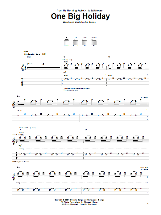 Tablature guitare One Big Holiday de My Morning Jacket - Tablature Guitare