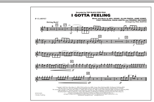I Gotta Feeling - Bb Clarinet (Marching Band)