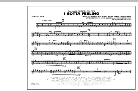 I Gotta Feeling - 2nd Bb Trumpet (Marching Band)