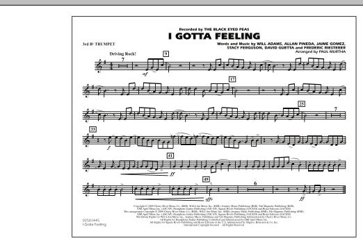 I Gotta Feeling - 3rd Bb Trumpet (Marching Band)