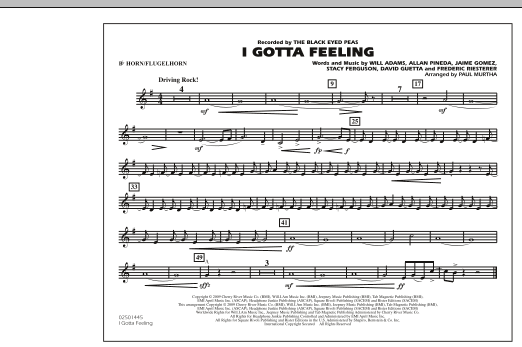 I Gotta Feeling - Bb Horn/Flugelhorn (Marching Band)