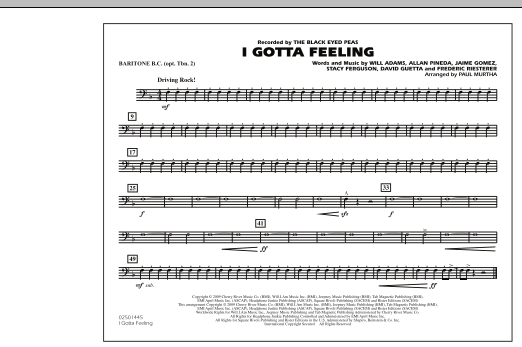 I Gotta Feeling - Baritone B.C. (Opt. Tbn. 2) (Marching Band)