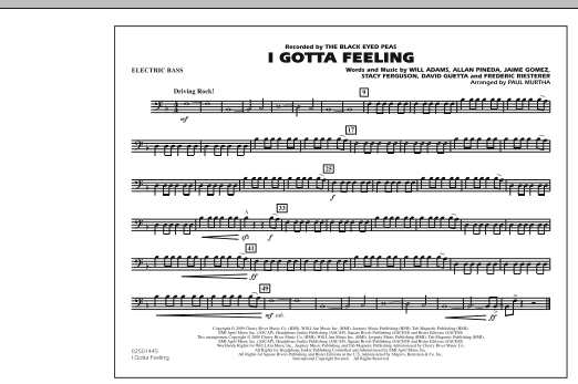 I Gotta Feeling - Electric Bass (Marching Band)