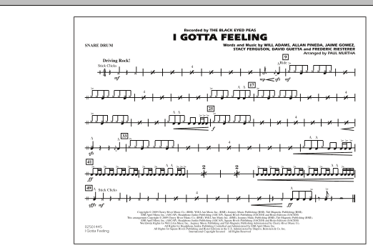 I Gotta Feeling - Snare Drum (Marching Band)