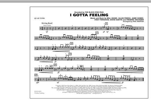 I Gotta Feeling - Quad Toms (Marching Band)