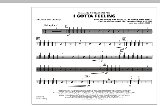 I Gotta Feeling - Multiple Bass Drums (Marching Band)