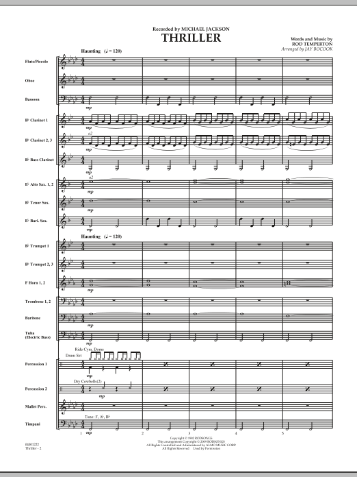 Thriller (COMPLETE) sheet music for concert band by Rod Temperton, Jay Bocook and Michael Jackson. Score Image Preview.