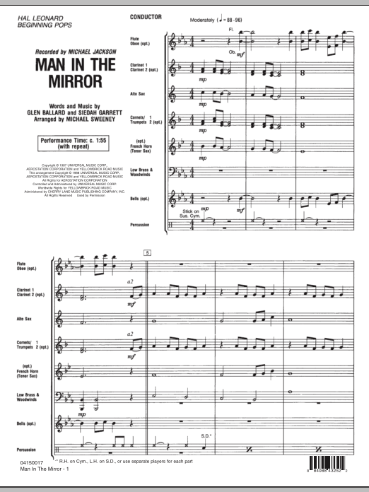 Man In The Mirror (COMPLETE) sheet music for concert band by Michael Sweeney, Glen Ballard, Michael Jackson and Siedah Garrett. Score Image Preview.