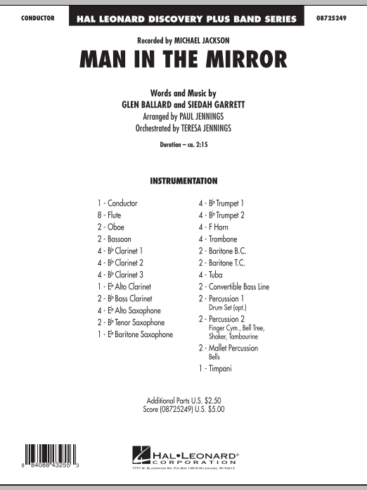 Man In The Mirror (COMPLETE) sheet music for concert band by Paul Jennings, Glen Ballard, Michael Jackson and Siedah Garrett. Score Image Preview.