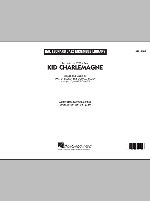 Kid Charlemagne (COMPLETE) sheet music for jazz band by Donald Fagen, Mike Tomaro and Steely Dan. Score Image Preview.