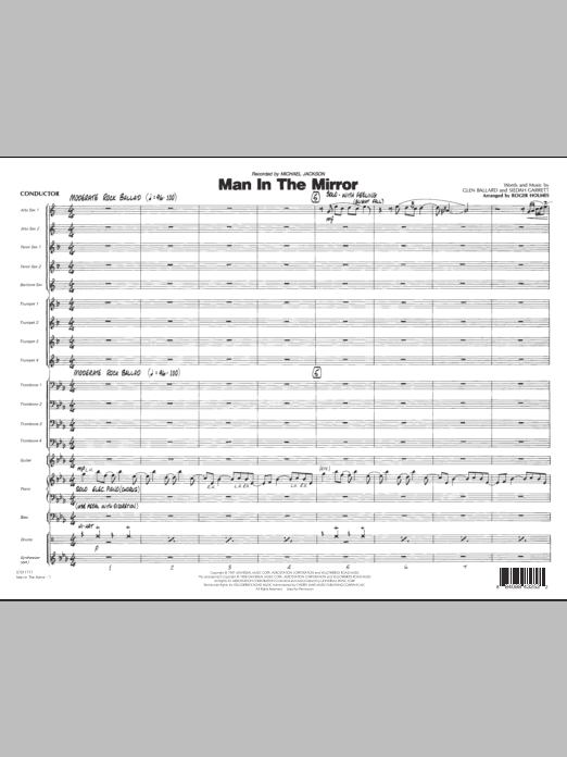 Man In The Mirror (COMPLETE) sheet music for jazz band by Roger Holmes, Michael Jackson, Glen Ballard and Siedah Garrett. Score Image Preview.