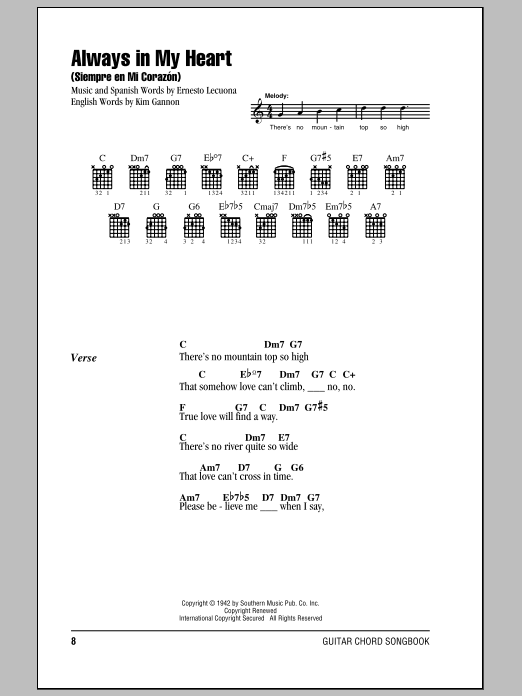 Always In My Heart (Siempre En Mi Corazon) Sheet Music