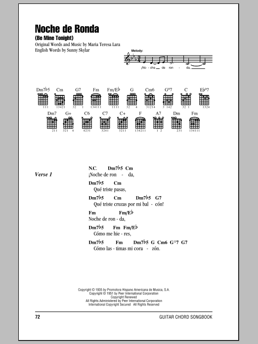 Noche De Ronda (Be Mine Tonight) Sheet Music