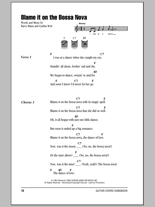 Blame It On The Bossa Nova Sheet Music