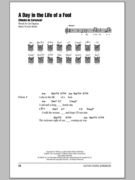 A Day In The Life Of A Fool (Manha De Carnaval) Sheet Music