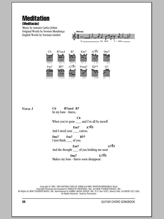 Meditation (Meditacao) (Guitar Chords/Lyrics)