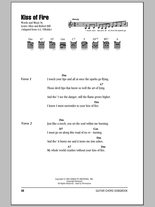 Kiss Of Fire Sheet Music Georgia Gibbs Guitar Chordslyrics