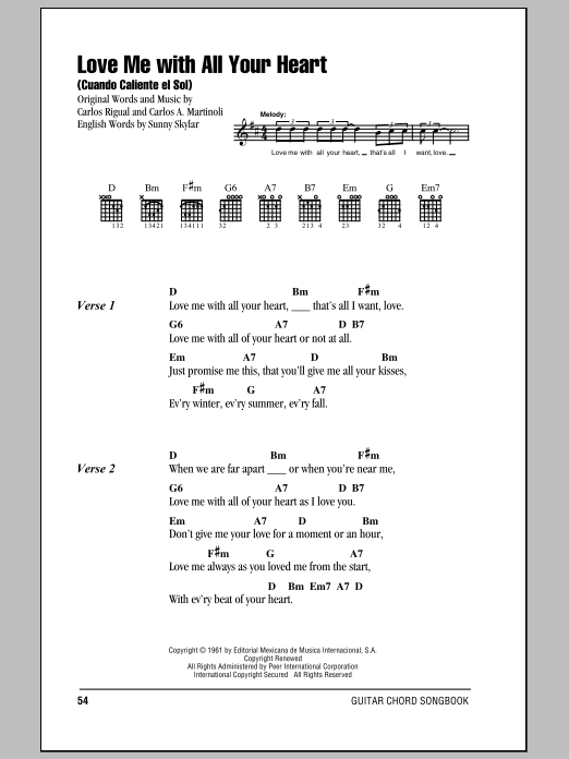 Love Me With All Your Heart (Cuando Calienta El Sol) Sheet Music