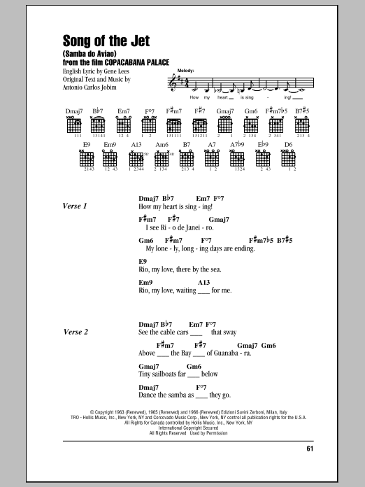 Song Of The Jet (Samba do Aviao) Sheet Music