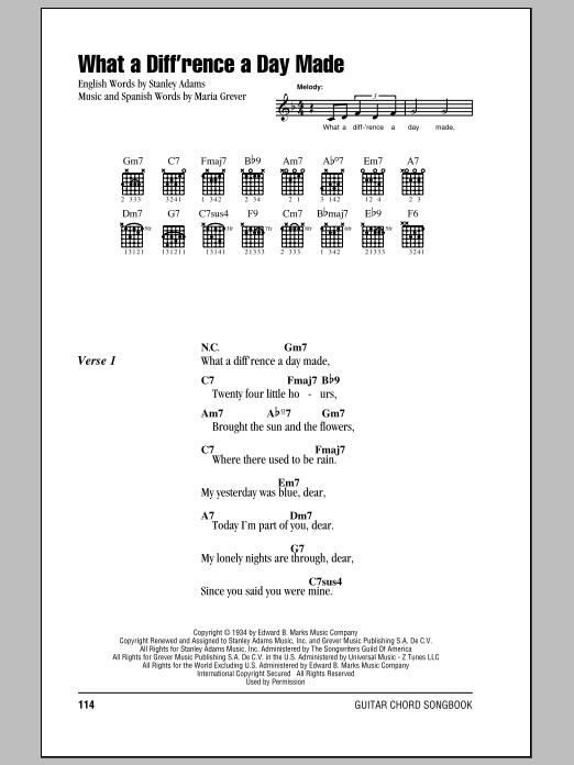 What A Diff'rence A Day Made (Guitar Chords/Lyrics)