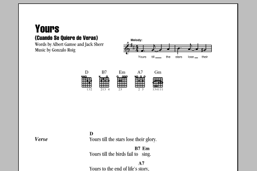 Yours (Cuando Se Quiere De Veras) Sheet Music