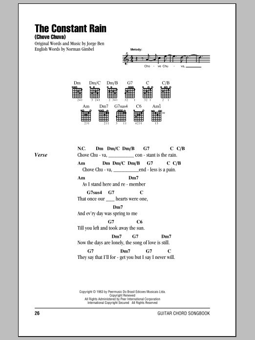 The Constant Rain (Chove Chuva) Sheet Music