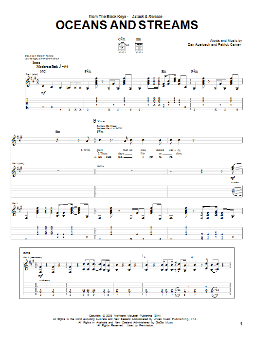 Tablature guitare Oceans And Streams de The Black Keys - Tablature Guitare