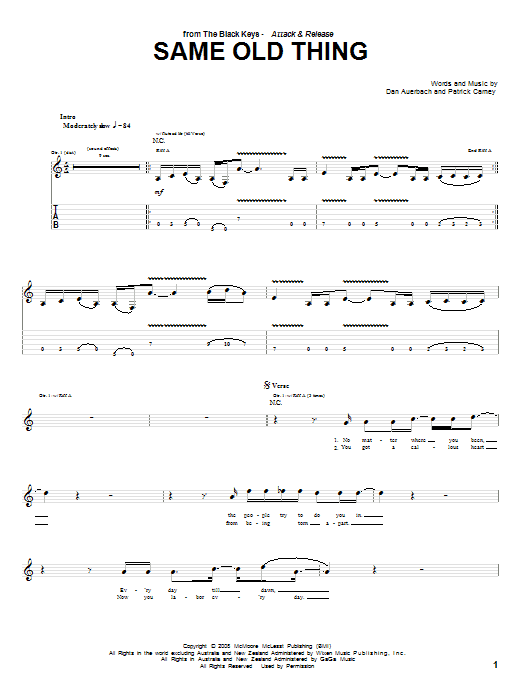 Tablature guitare Same Old Thing de The Black Keys - Tablature Guitare