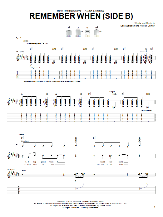 Tablature guitare Remember When (Side B) de The Black Keys - Tablature Guitare