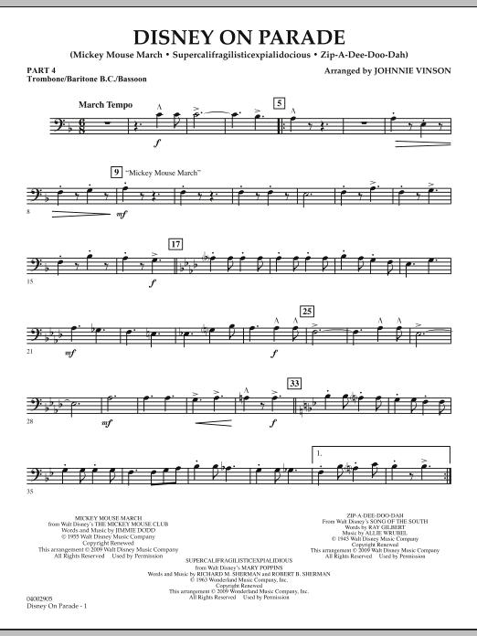 Disney on Parade - Pt.4 - Trombone/Bar. B.C./Bsn. (Concert Band)