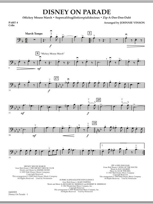 Disney on Parade - Pt.4 - Cello (Concert Band)