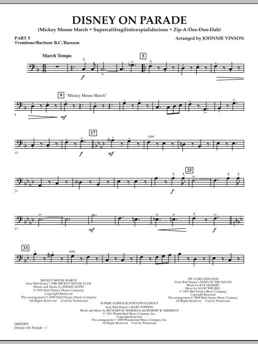 Disney on Parade - Pt.5 - Trombone/Bar. B.C./Bsn. (Concert Band)