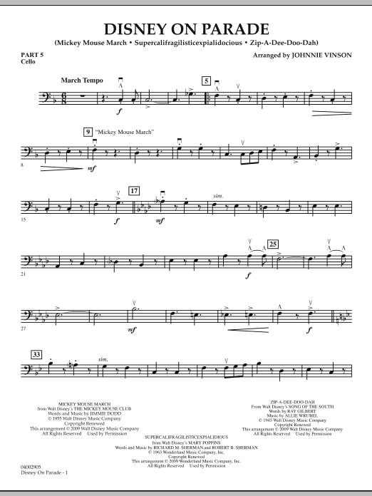 Disney on Parade - Pt.5 - Cello (Concert Band)
