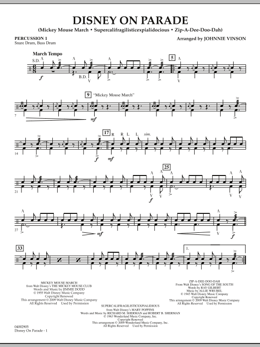 Disney on Parade - Percussion 1 (Concert Band)