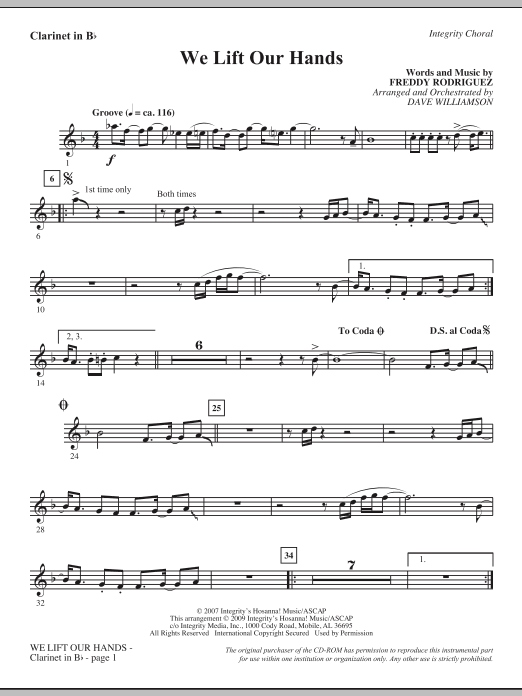 We Lift Our Hands - Bb Clarinet (Choir Instrumental Pak)