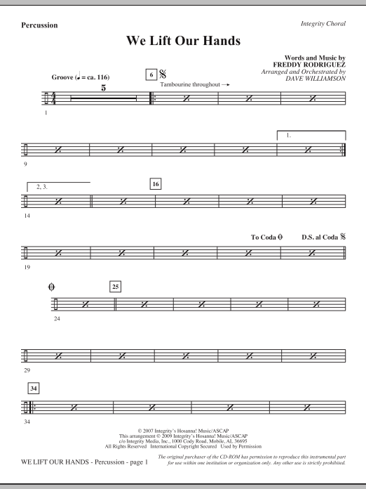 We Lift Our Hands - Percussion Sheet Music
