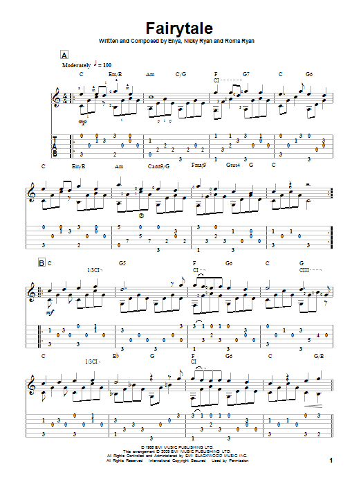 Tablature guitare Fairytale de Enya - Tablature Guitare