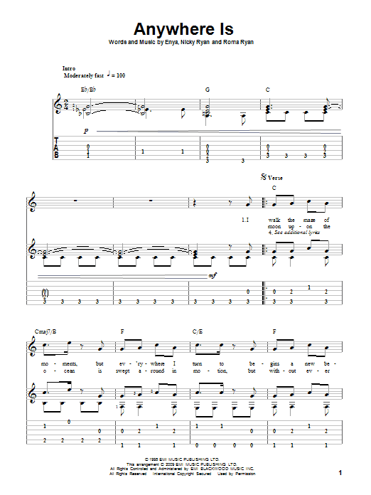 Anywhere Is (Guitar Tab)