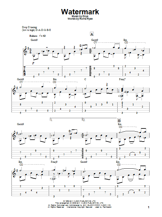 Watermark by Enya Guitar Tab Digital Sheet Music