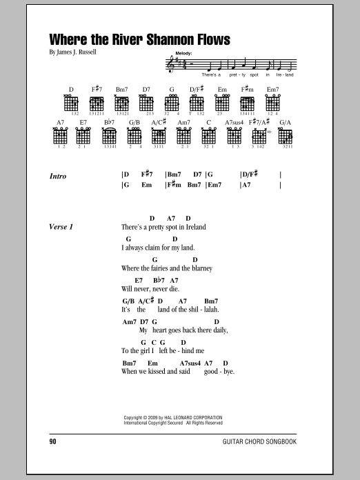 Where The River Shannon Flows By James J Russell Guitar Chords