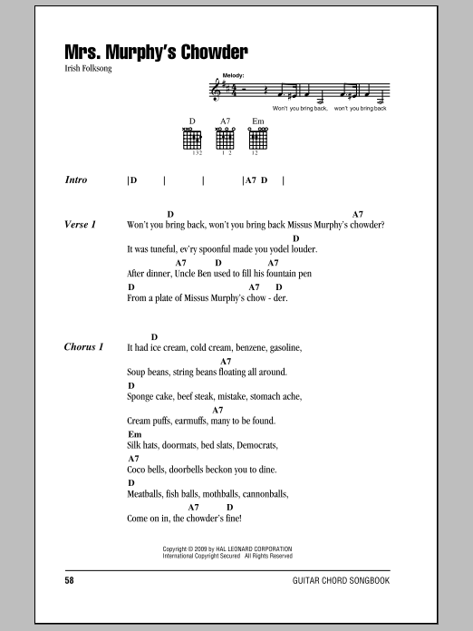 Mrs. Murphy's Chowder (Guitar Chords/Lyrics)