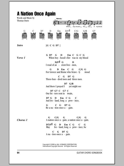 A Nation Once Again (Guitar Chords/Lyrics)