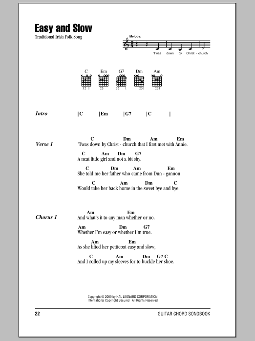 Easy And Slow Sheet Music