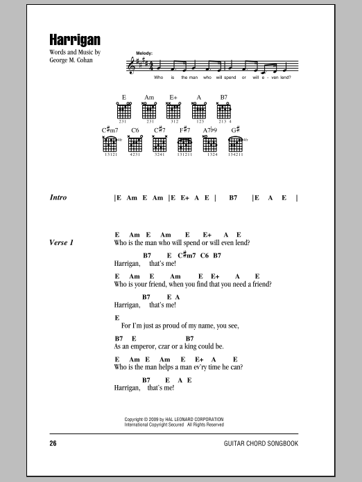 Harrigan Sheet Music