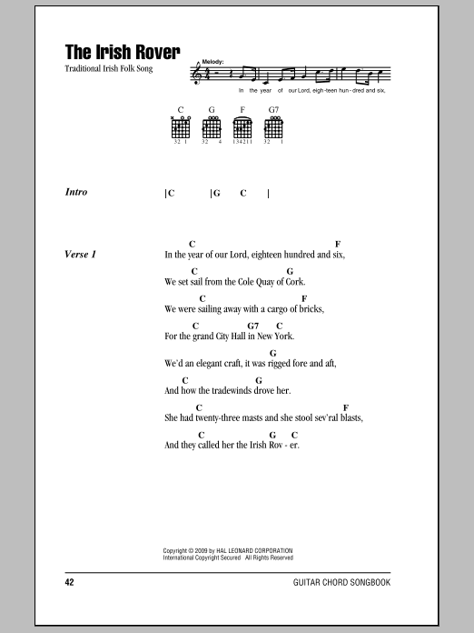 The Irish Rover Sheet Music