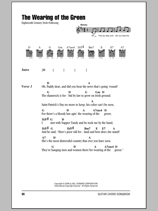 The Wearing Of The Green Sheet Music