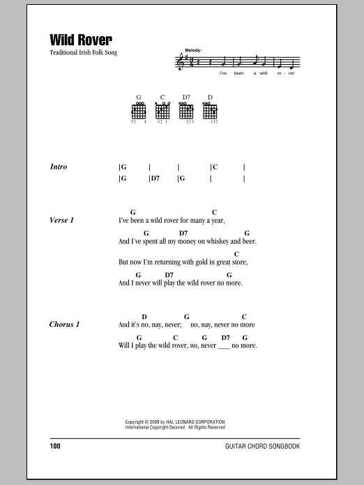 Wild Rover Sheet Music